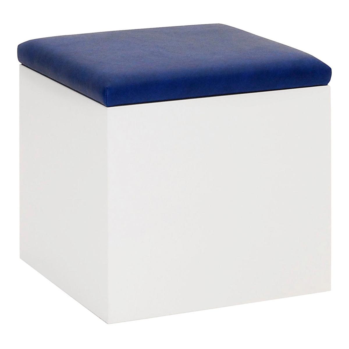 Hocker Cubus, weiß-blau