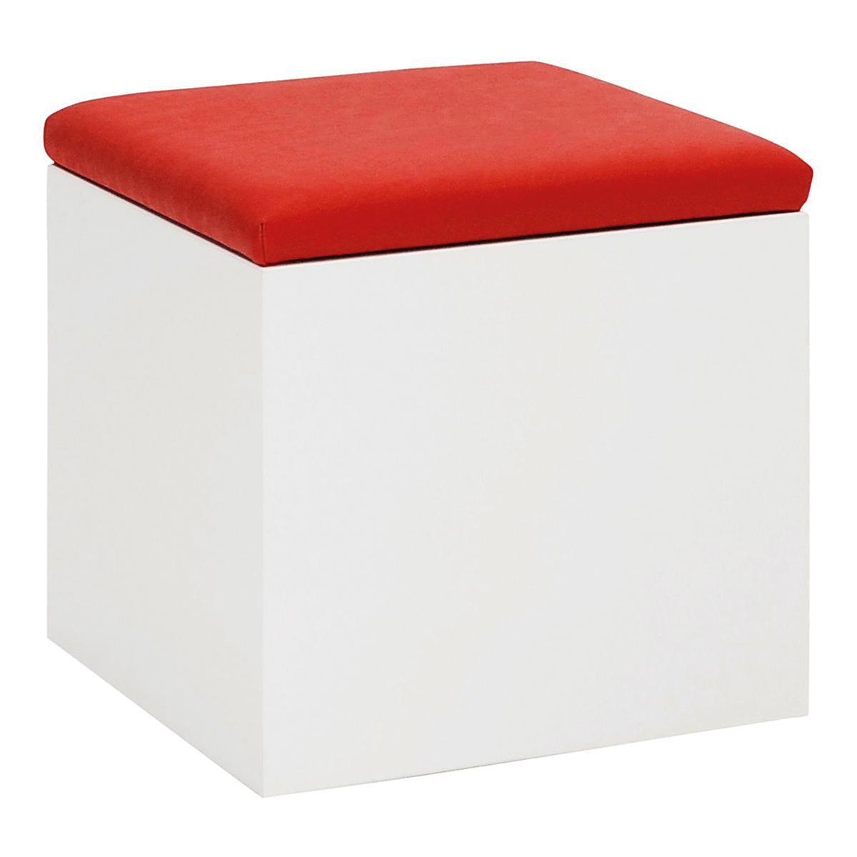 Hocker Cubus, weiß-rot