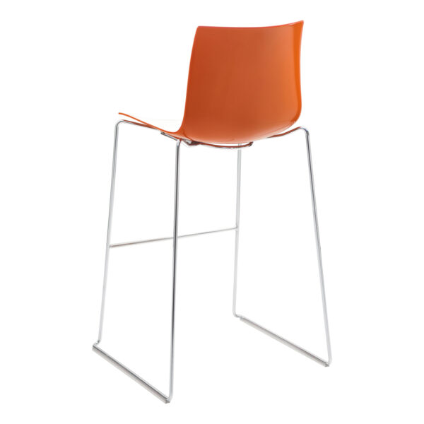 Barhocker Catifa 46, Kufengestell, weiß-orange