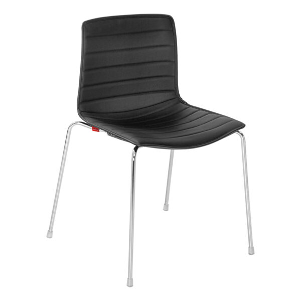 Stuhl Catifa 46 Leder, 4-Fuß, schwarz