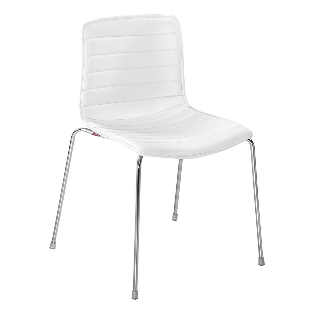 Stuhl Catifa 46 Leder, 4-Fuß, weiß