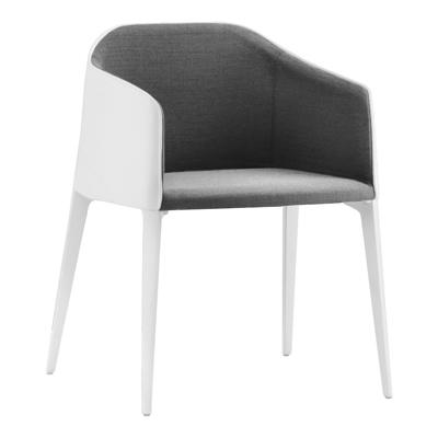 Stuhl Laja, weiß - grau melange