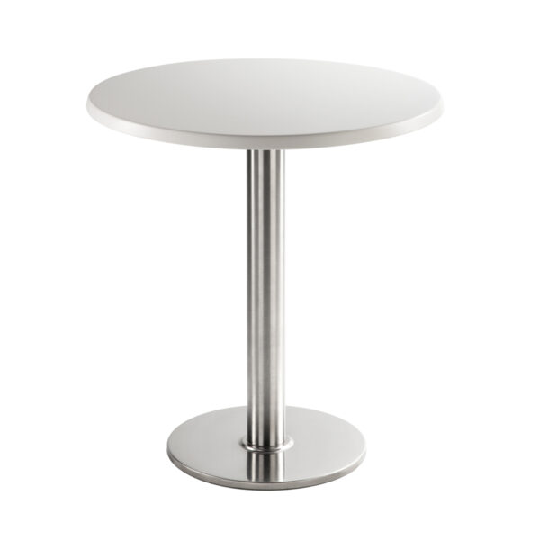 Sitztisch Chromo, rund, weiß