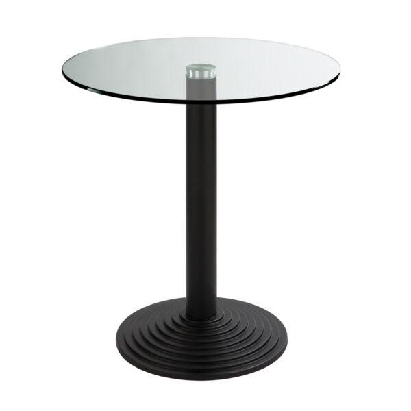 Sitztisch Nizza schwarz, rund, Klarglas