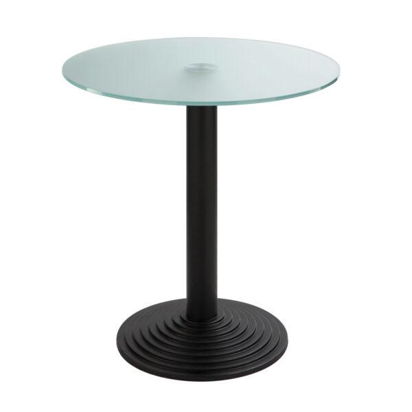 Sitztisch Nizza schwarz, rund, Satinglas
