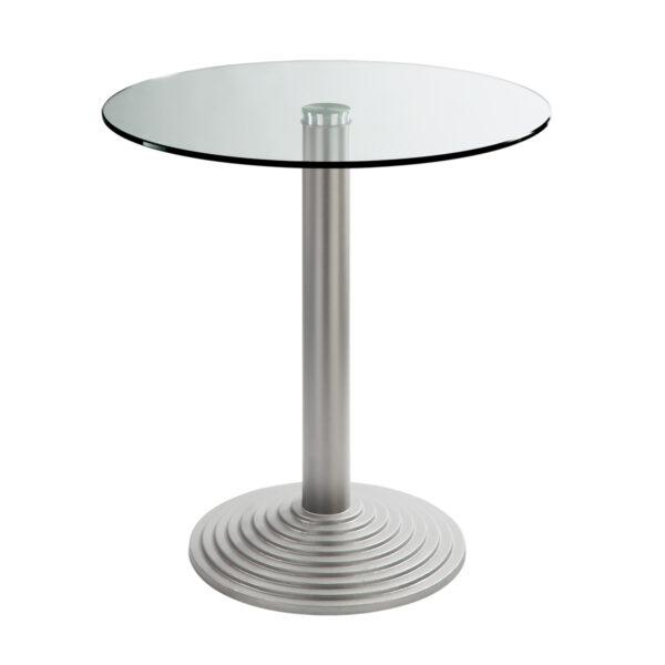 Sitztisch Nizza silber, rund, Klarglas