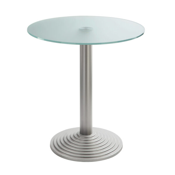 Sitztisch Nizza silber, rund, Satinglas