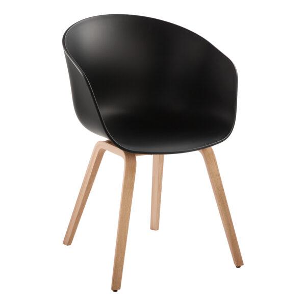 Stuhl About a Chair, schwarz-Eiche