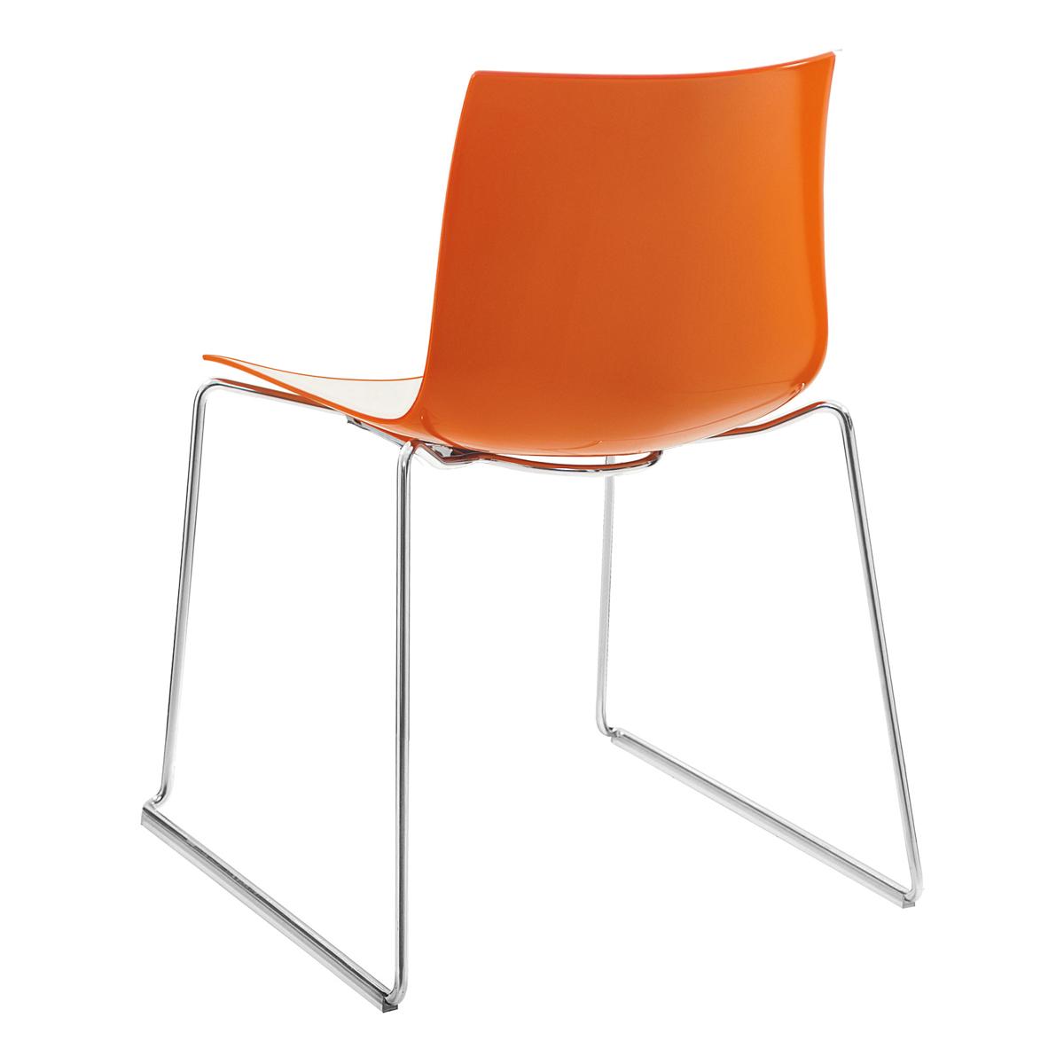 Stuhl Catifa 46, Kufe, weiß-orange