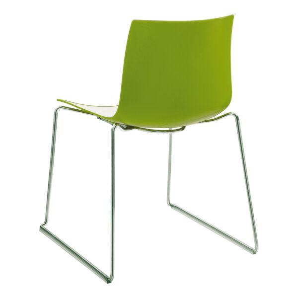 Stuhl Catifa 46, Kufe, weiß-grün