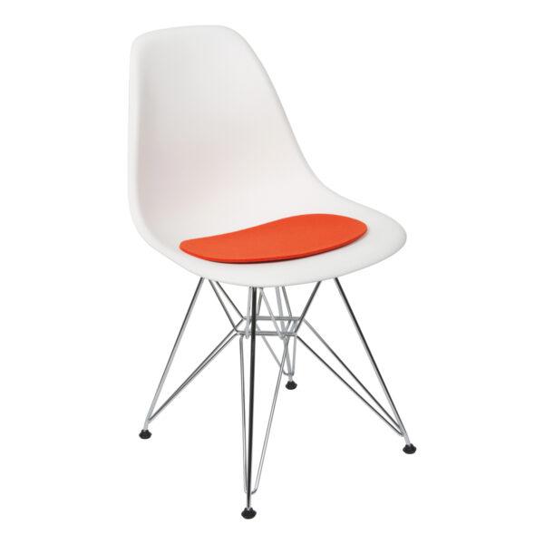 Stuhl DSR, weiß, mit Auflage